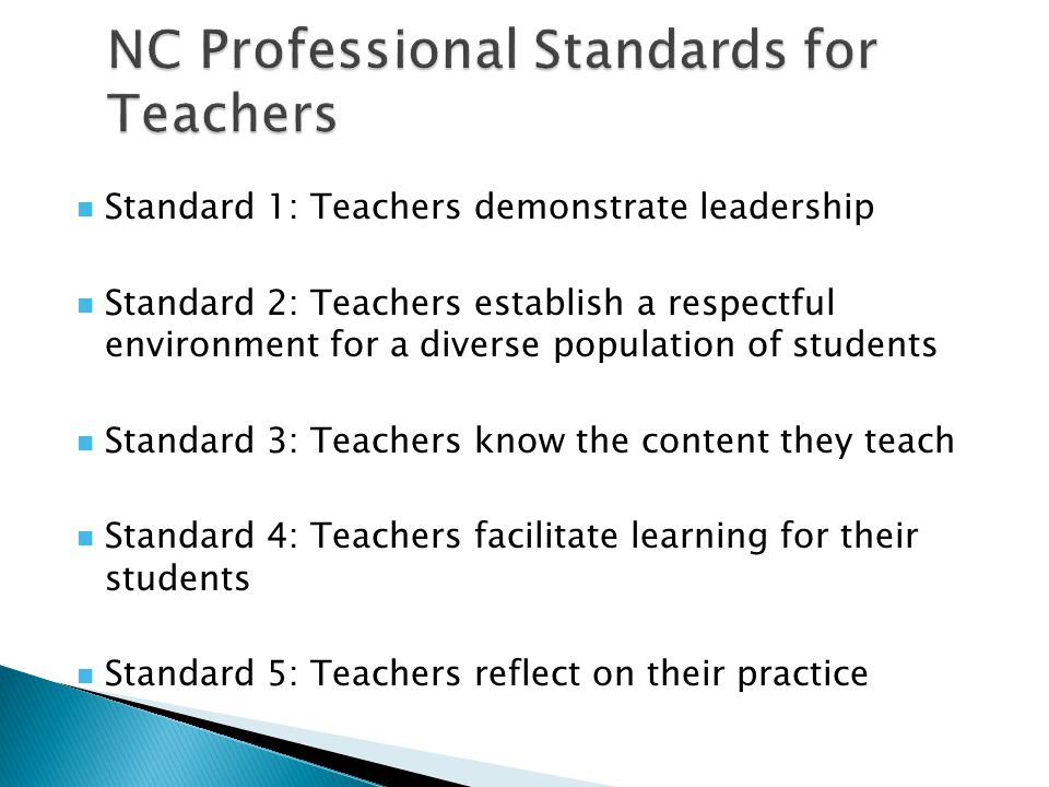 NC Professional Standards for Teachers