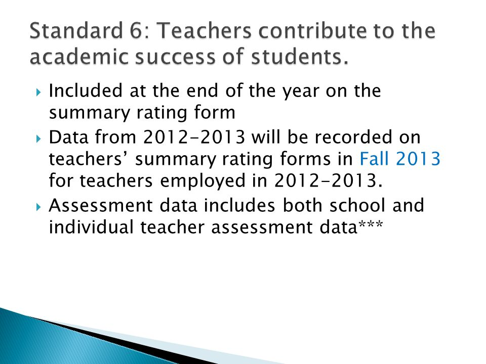 Standard 6: Teachers contribute to the academic success of students.