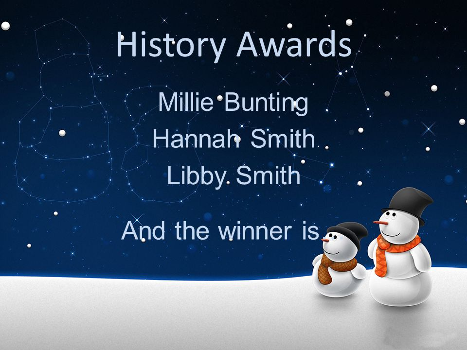 History Awards Millie Bunting Hannah Smith Libby Smith