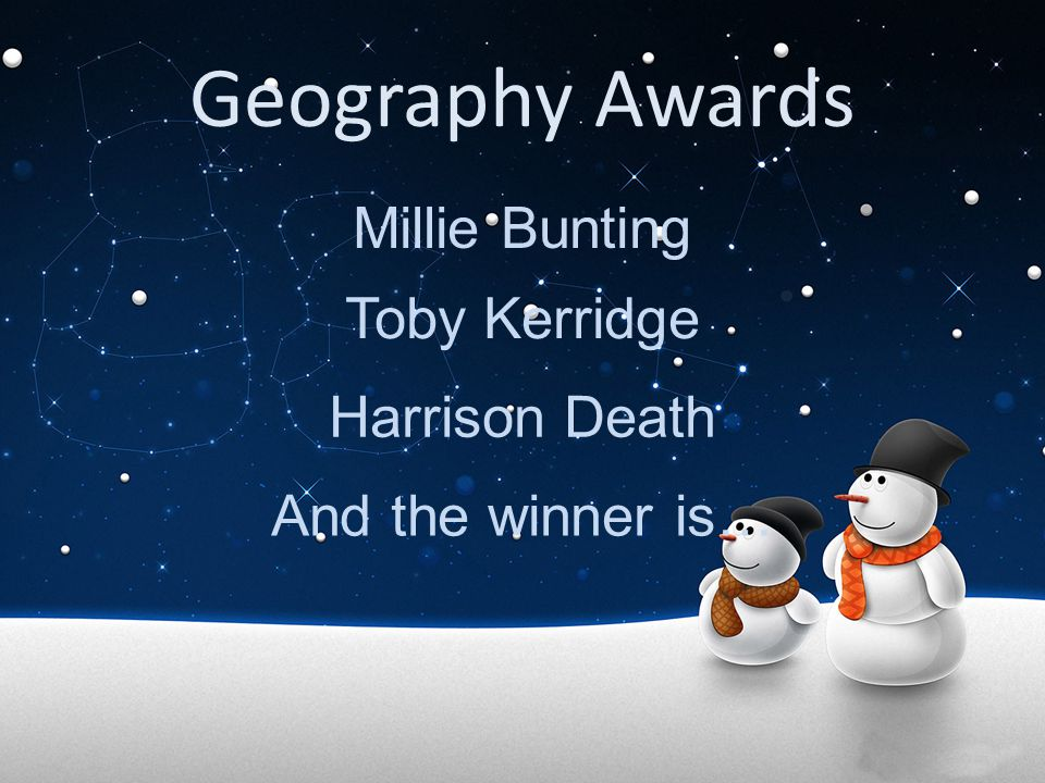 Geography Awards Millie Bunting Toby Kerridge Harrison Death