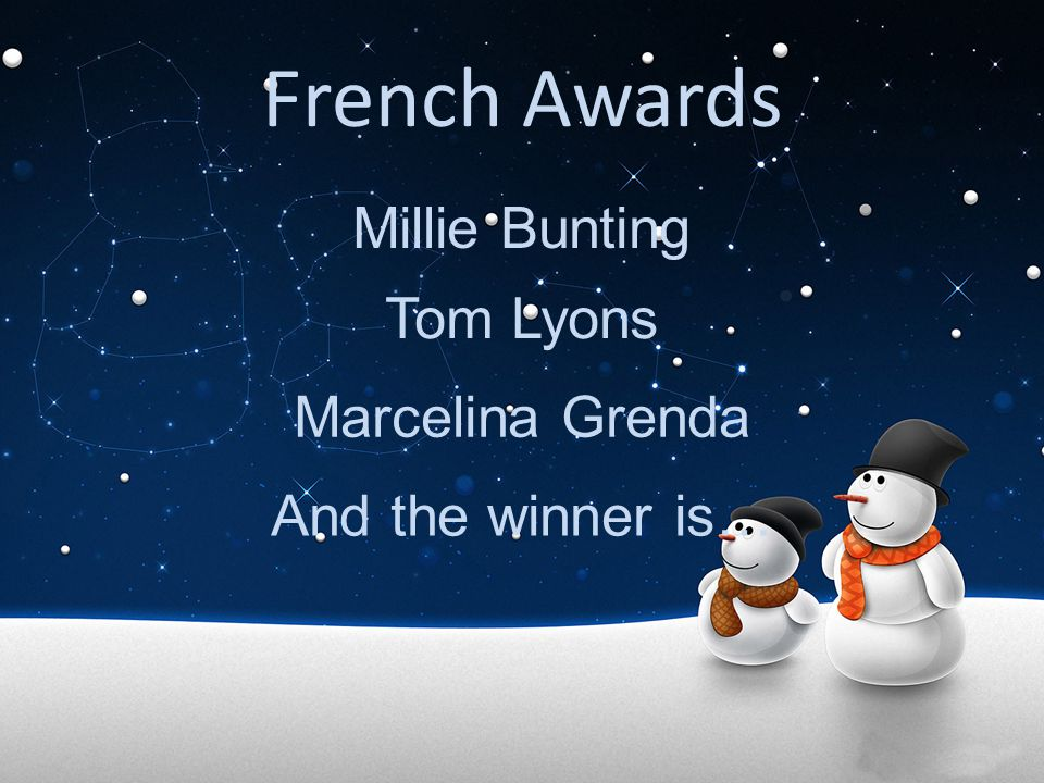 French Awards Millie Bunting Tom Lyons Marcelina Grenda