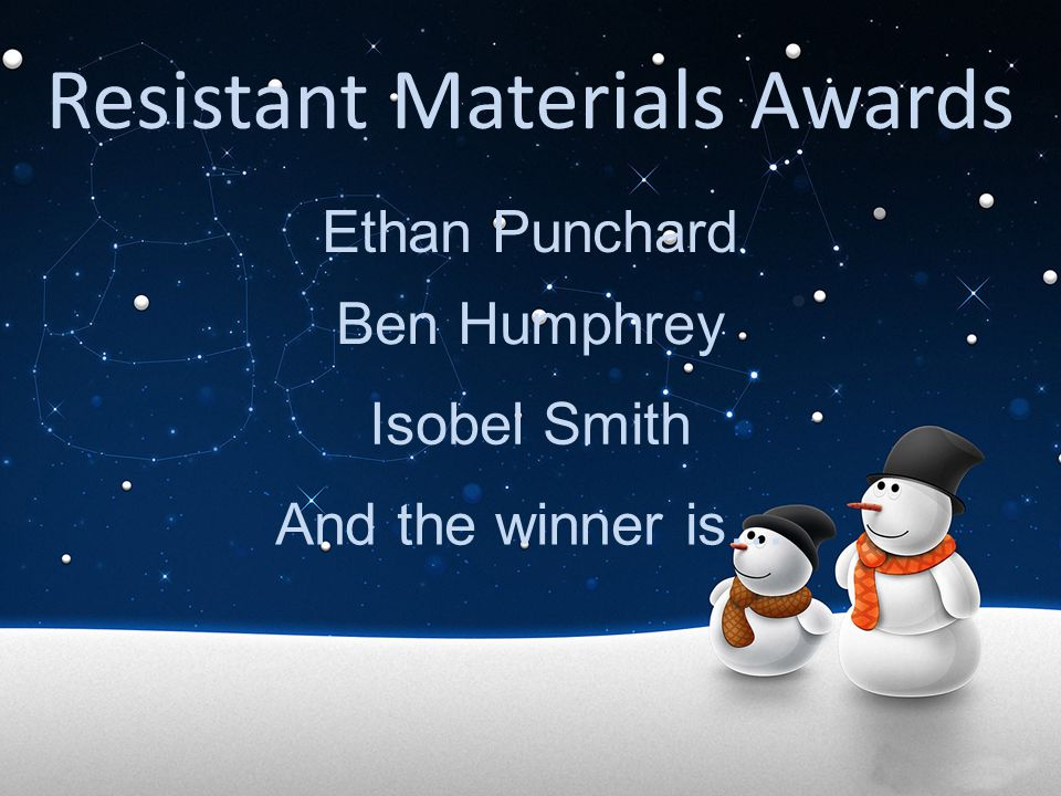Resistant Materials Awards