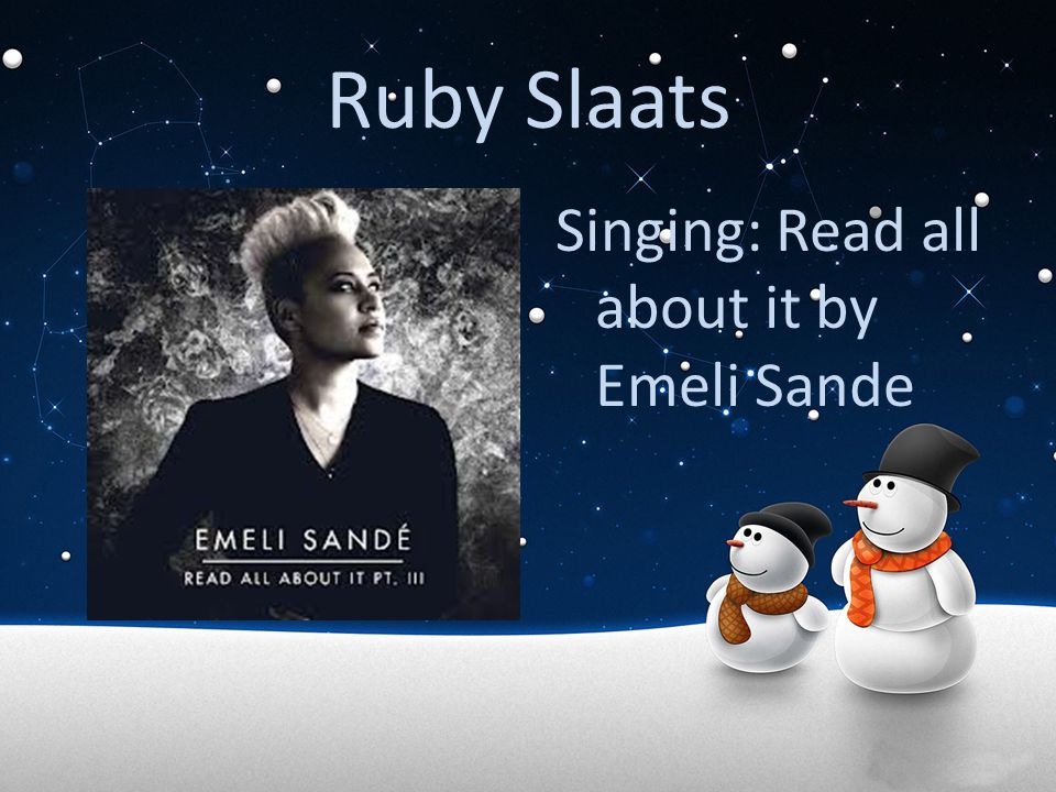 Ruby Slaats Singing: Read all about it by Emeli Sande