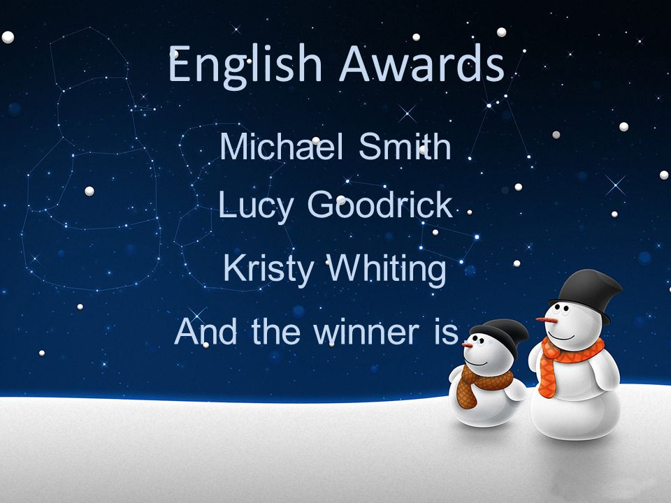 English Awards Michael Smith Lucy Goodrick Kristy Whiting