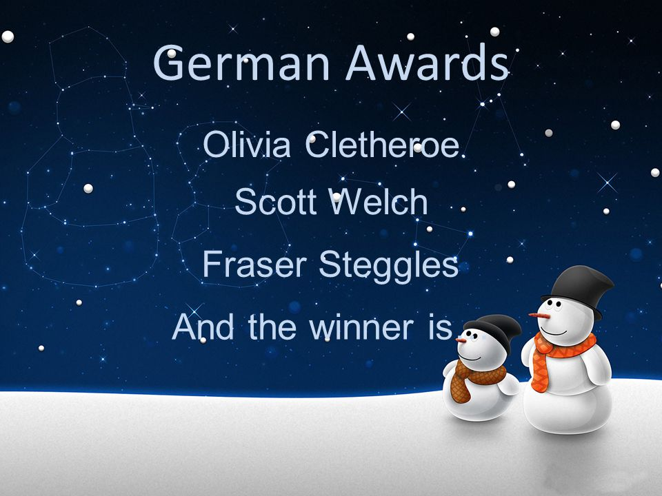 German Awards Olivia Cletheroe Scott Welch Fraser Steggles