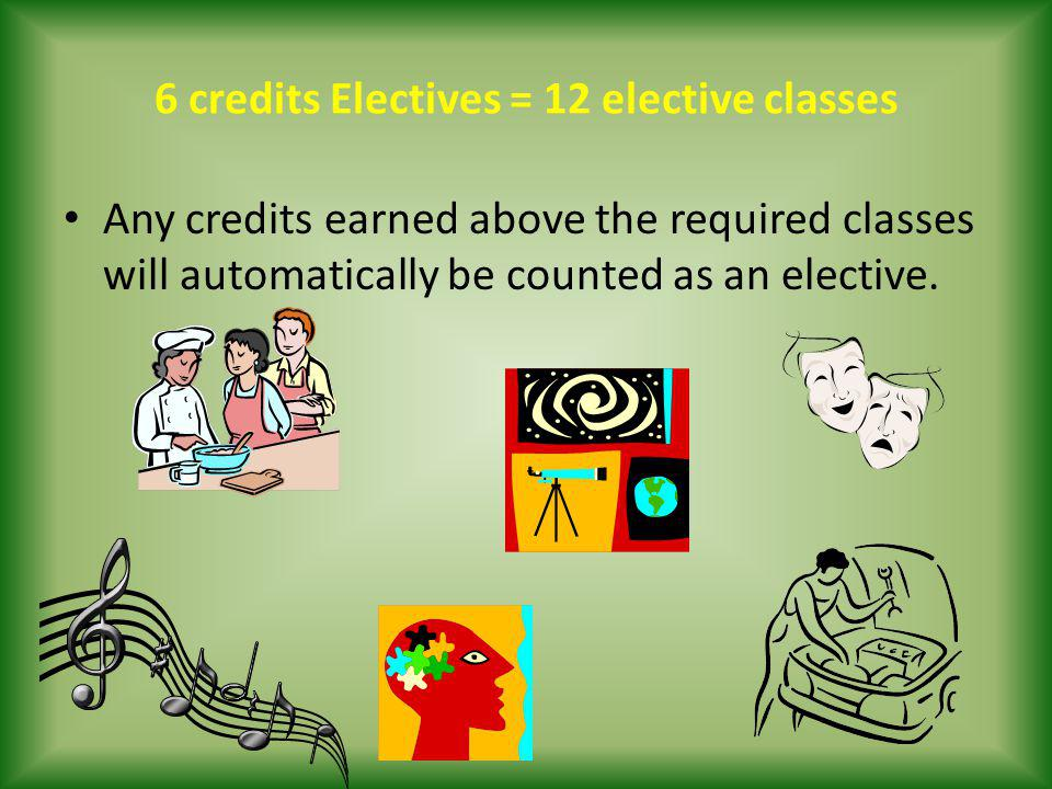 6 credits Electives = 12 elective classes