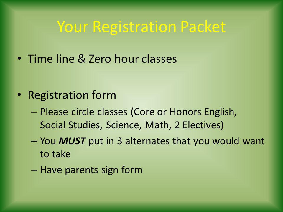 Your Registration Packet