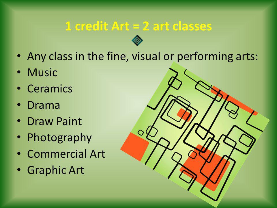 1 credit Art = 2 art classes