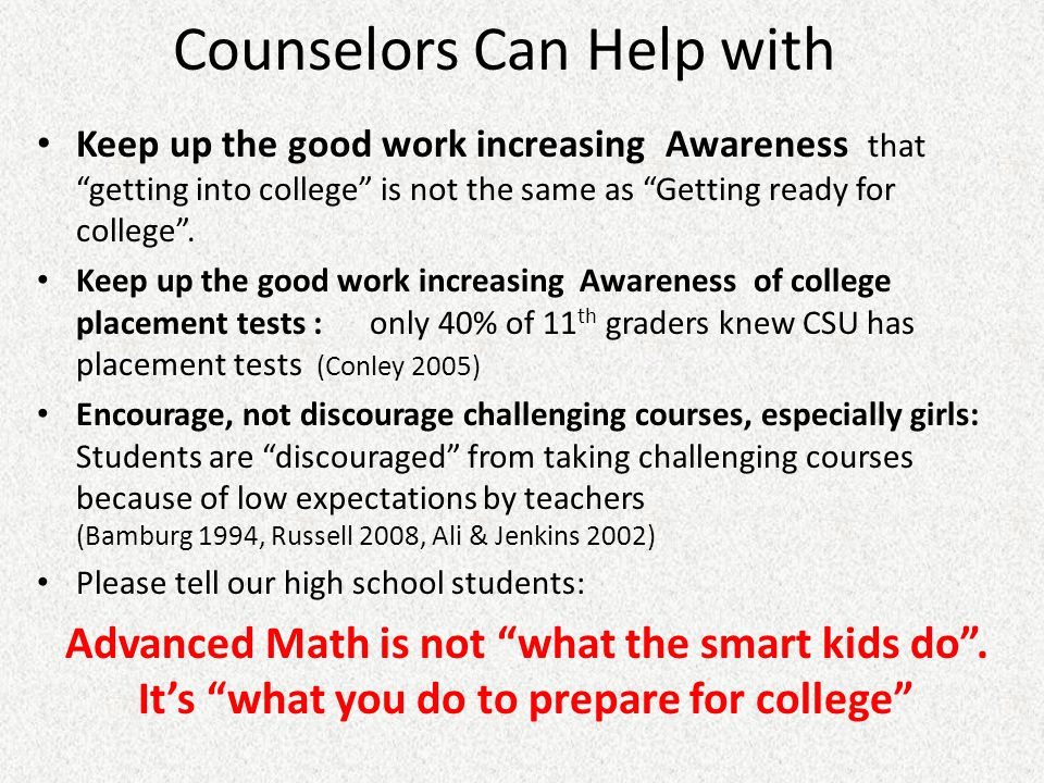Counselors Can Help with