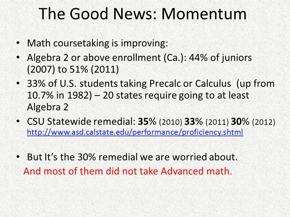 The Good News: Momentum