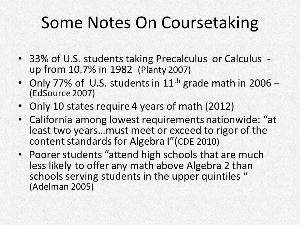 Some Notes On Coursetaking