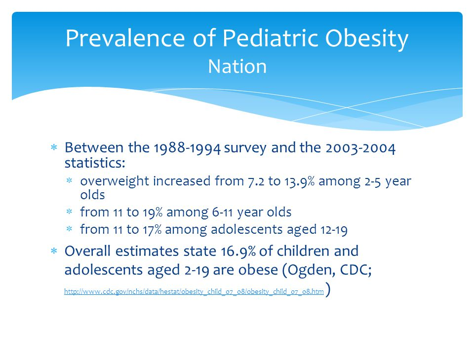 Prevalence of Pediatric Obesity Nation