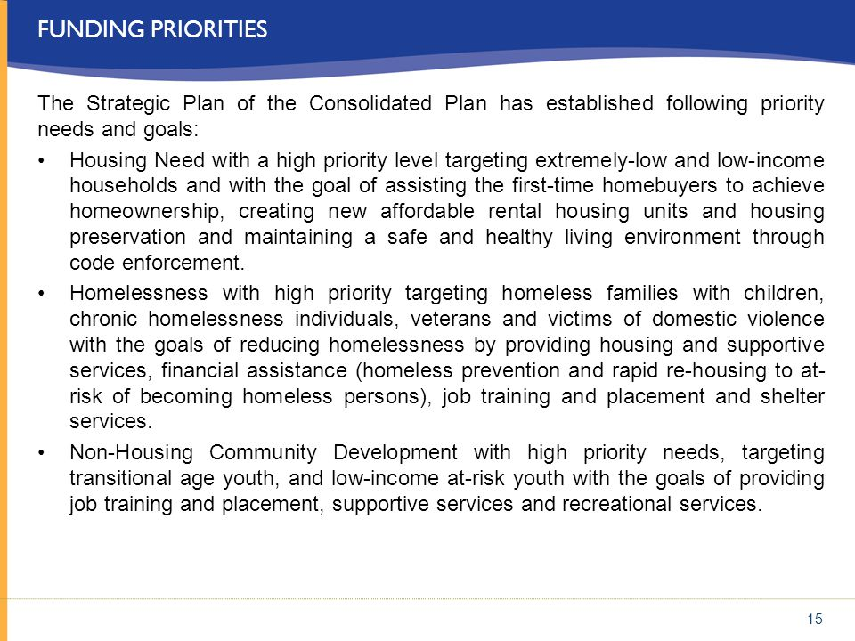 Funding Priorities The Strategic Plan of the Consolidated Plan has established following priority needs and goals: