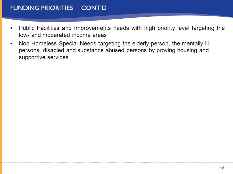 Funding Priorities cont'd