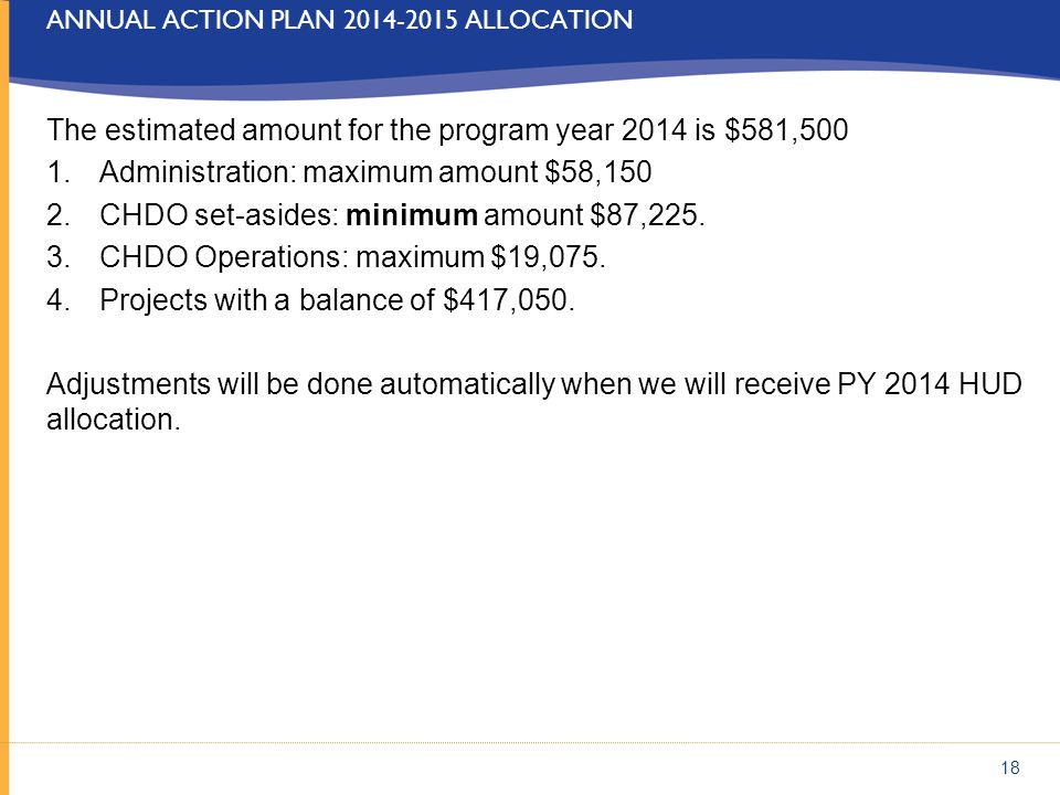 Annual action Plan 2014-2015 allocation