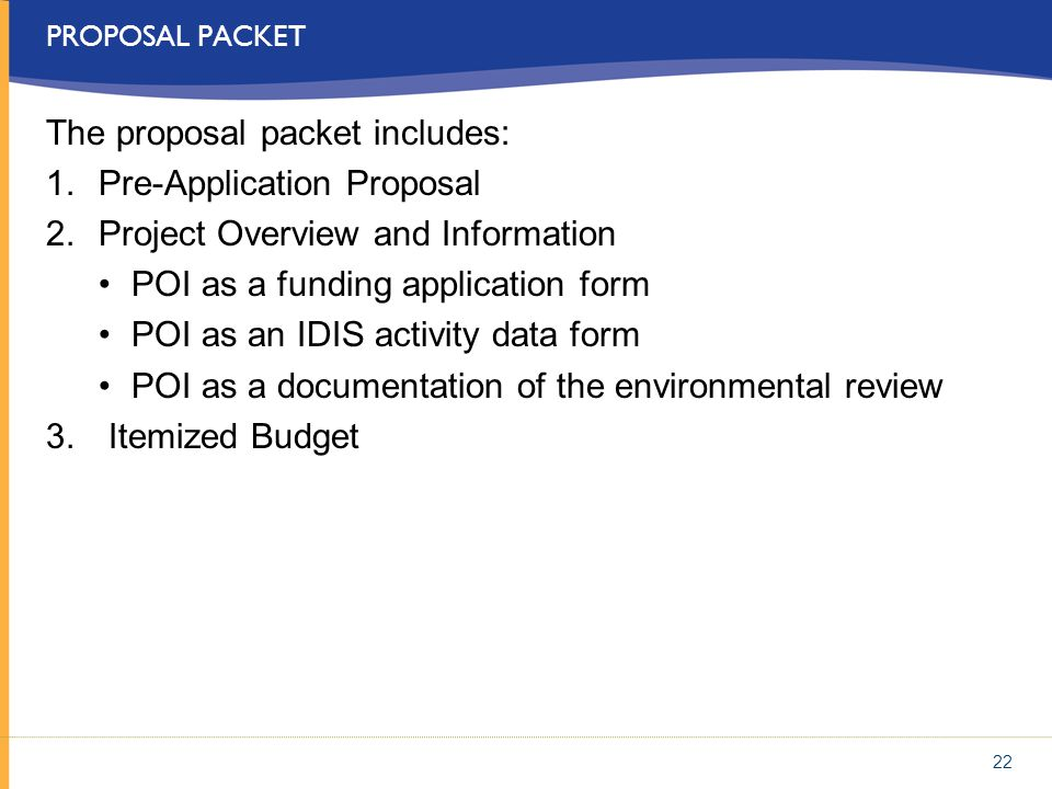 The proposal packet includes: Pre-Application Proposal