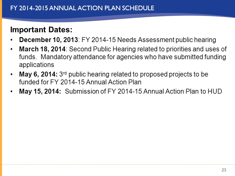 FY 2014-2015 ANNUAL ACTION PLAN SCHEDULE