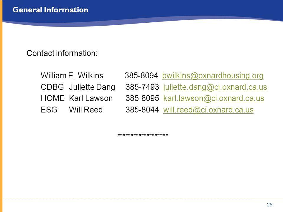 William E. Wilkins 385-8094 bwilkins@oxnardhousing.org
