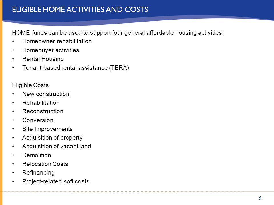 Eligible HOME activities and costs