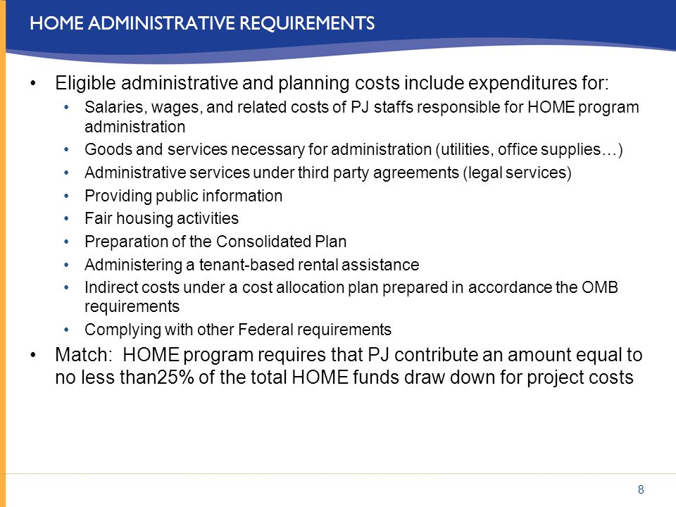 Home administrative requirements