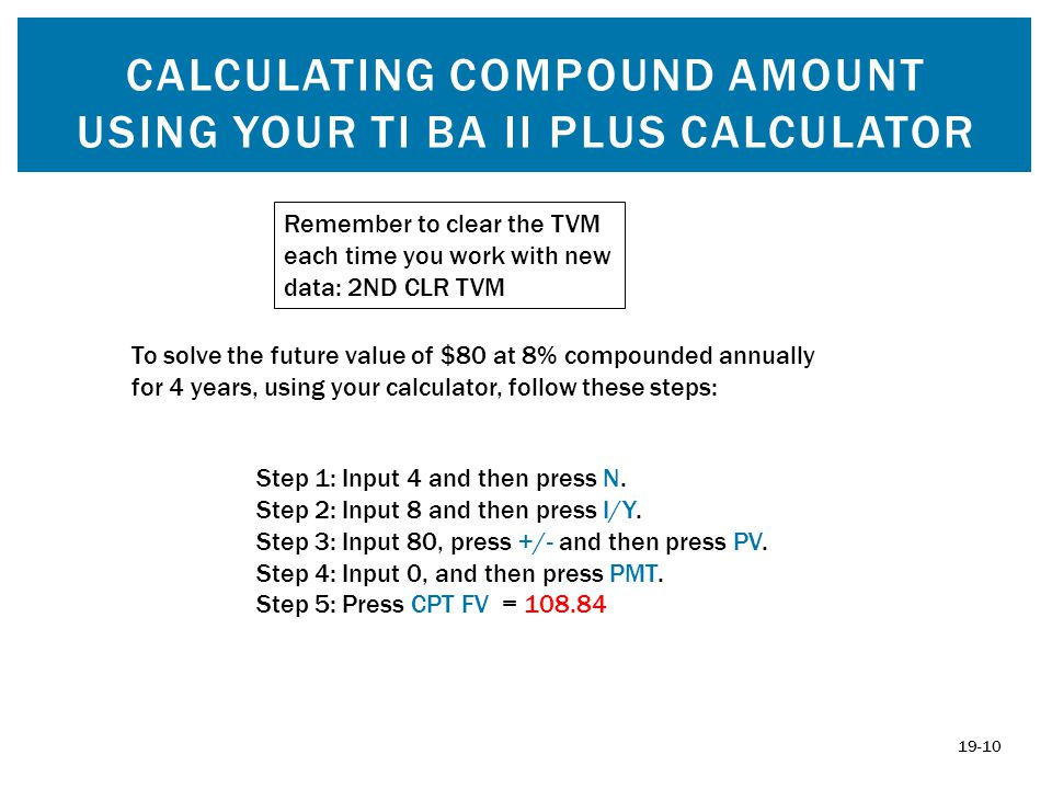 Calculating compound amount using YOUR TI BA II PLUS calculator