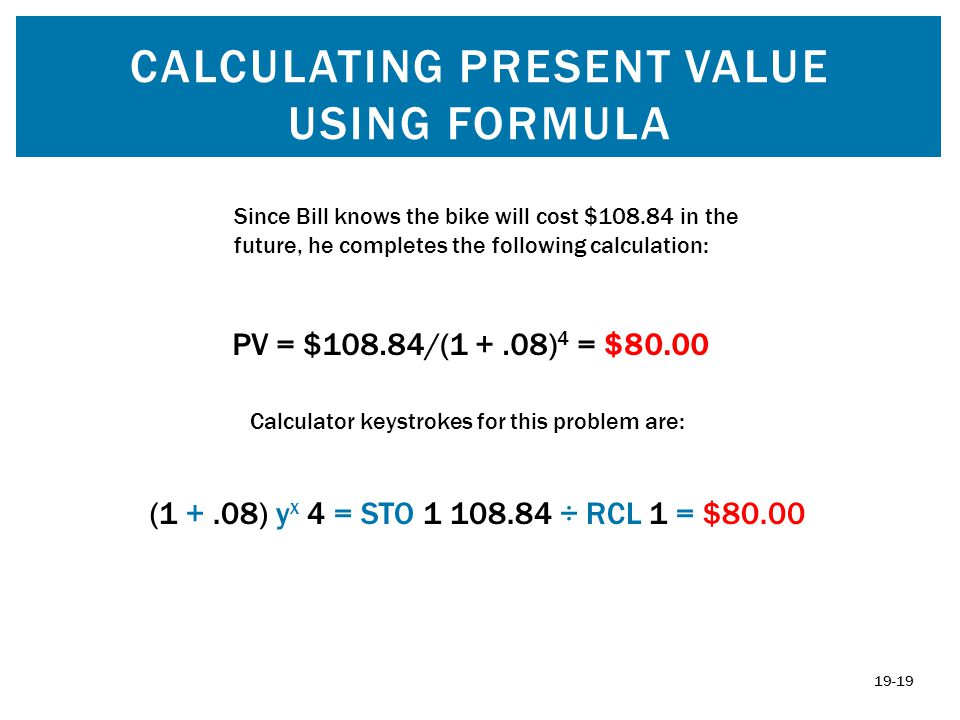 Calculating Present Value using formula
