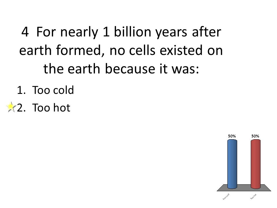 4 For nearly 1 billion years after earth formed, no cells existed on the earth because it was: