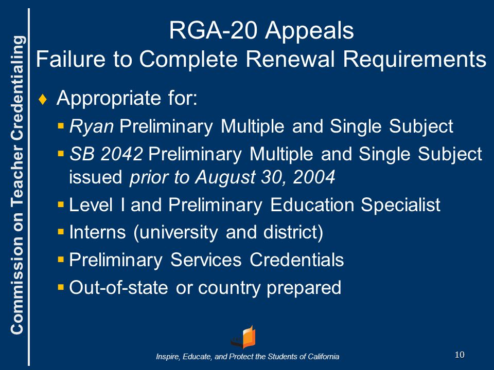RGA-20 Appeals Failure to Complete Renewal Requirements