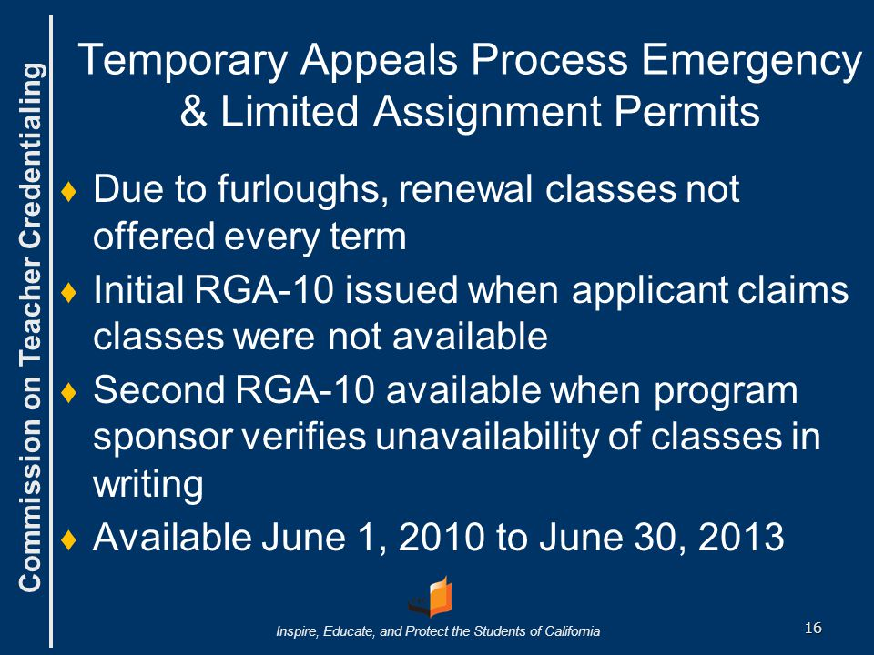 Temporary Appeals Process Emergency & Limited Assignment Permits