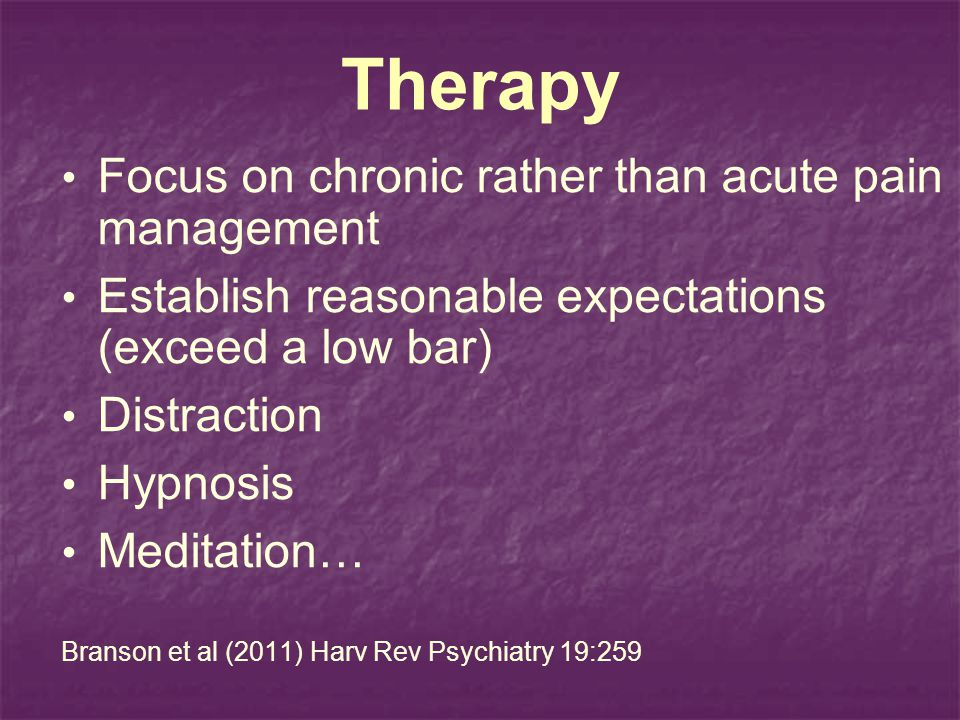 Therapy Focus on chronic rather than acute pain management