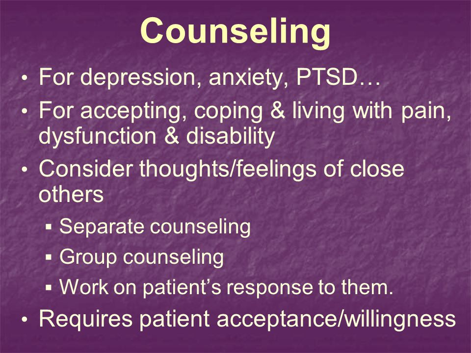 Counseling For depression, anxiety, PTSD…