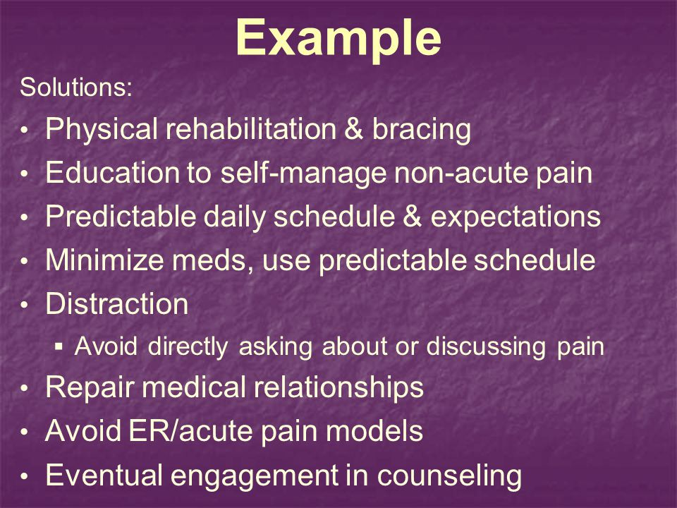 Example Physical rehabilitation & bracing
