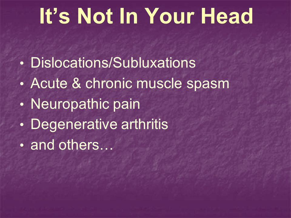 It's Not In Your Head Dislocations/Subluxations