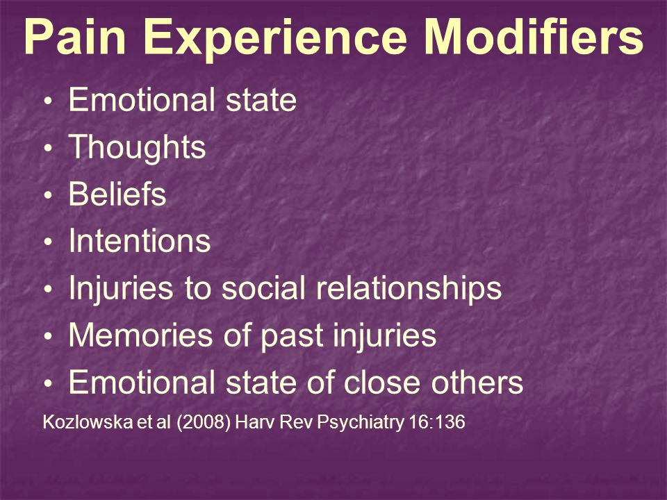 Pain Experience Modifiers