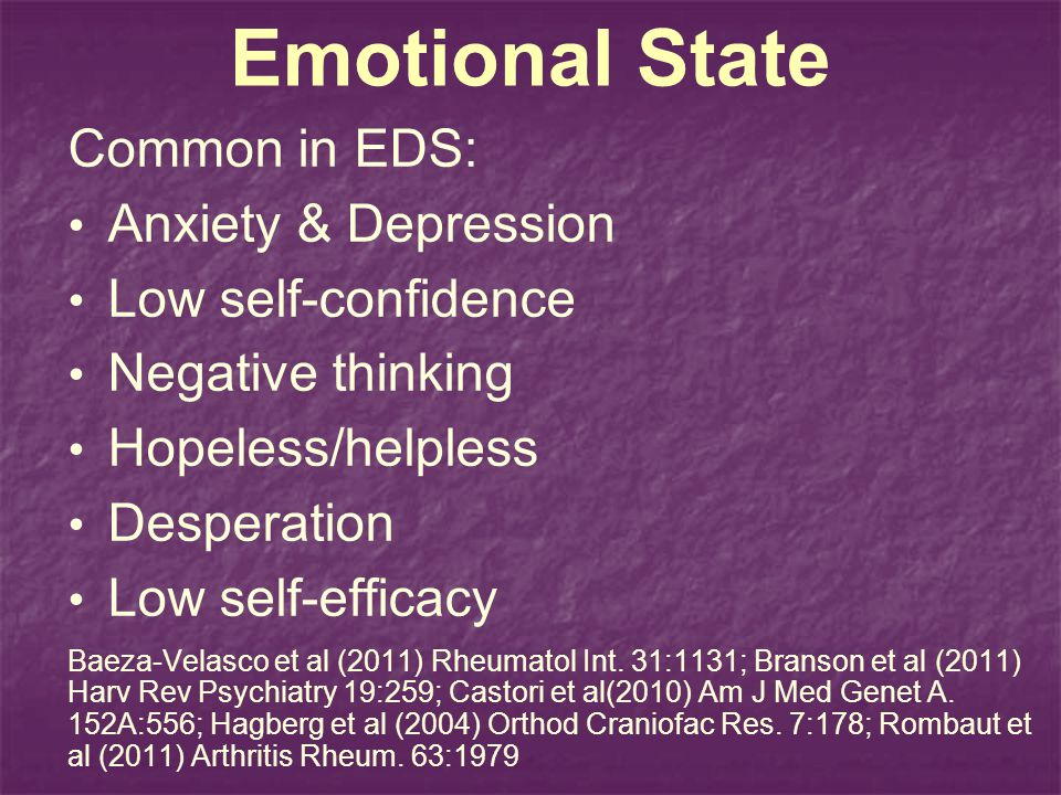 Emotional State Common in EDS: Anxiety & Depression