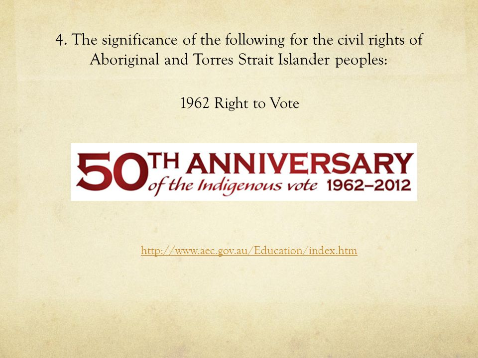 4. The significance of the following for the civil rights of Aboriginal and Torres Strait Islander peoples: