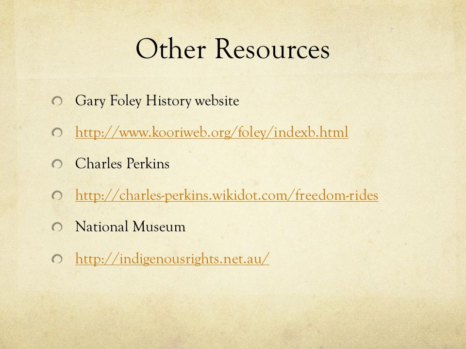 Other Resources Gary Foley History website