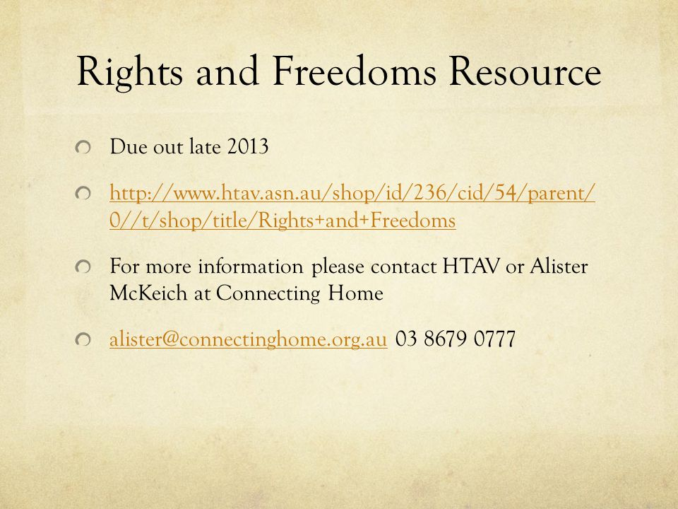 Rights and Freedoms Resource