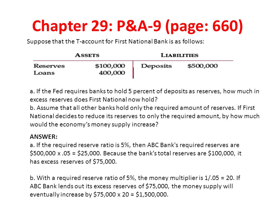 Chapter 29: P&A-9 (page: 660) Suppose that the T-account for First National Bank is as follows: