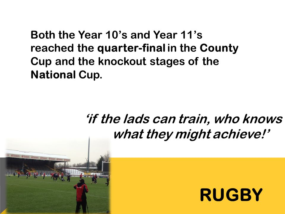 RUGBY 'if the lads can train, who knows what they might achieve!'
