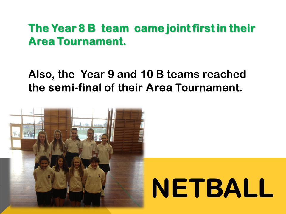 The Year 8 B team came joint first in their Area Tournament