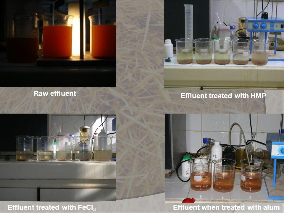 Raw effluent Effluent treated with HMP Effluent treated with FeCl3 Effluent when treated with alum
