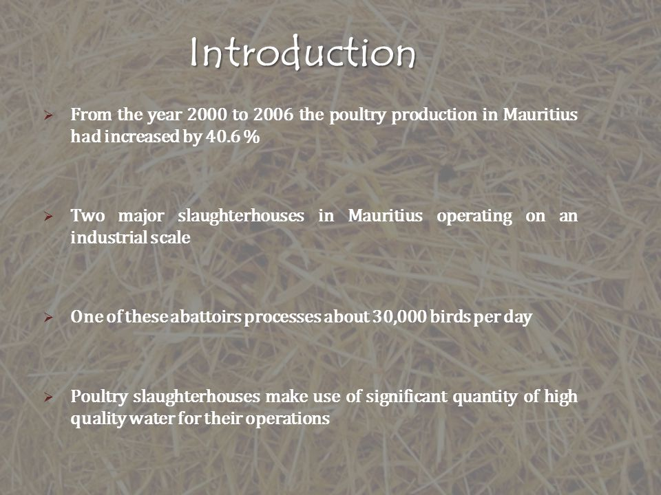 Introduction From the year 2000 to 2006 the poultry production in Mauritius had increased by 40.6 %