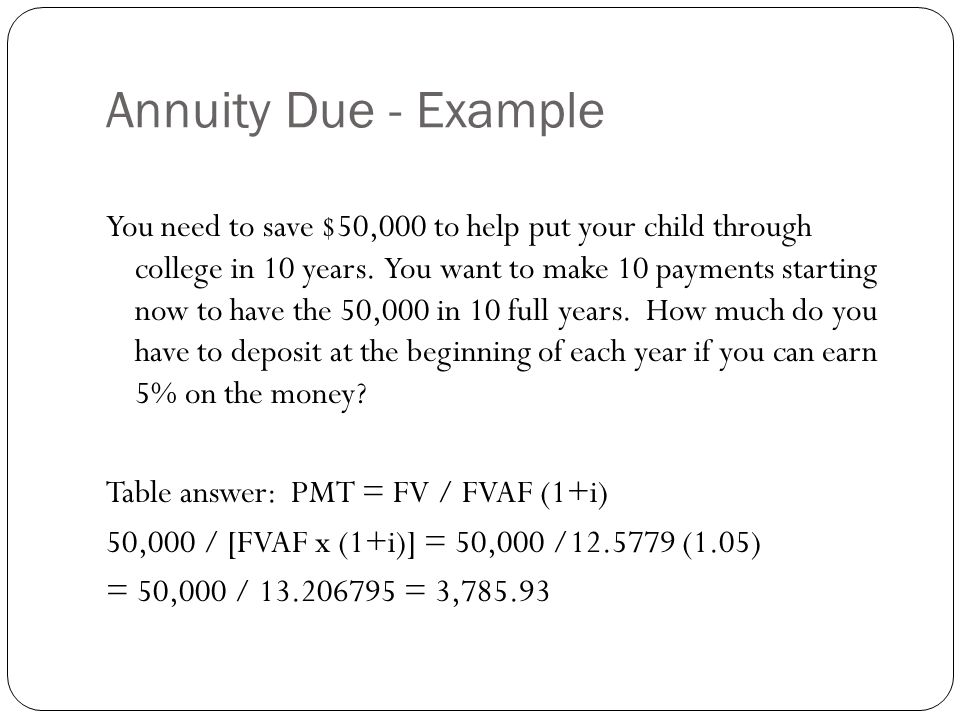 Annuity Due - Example