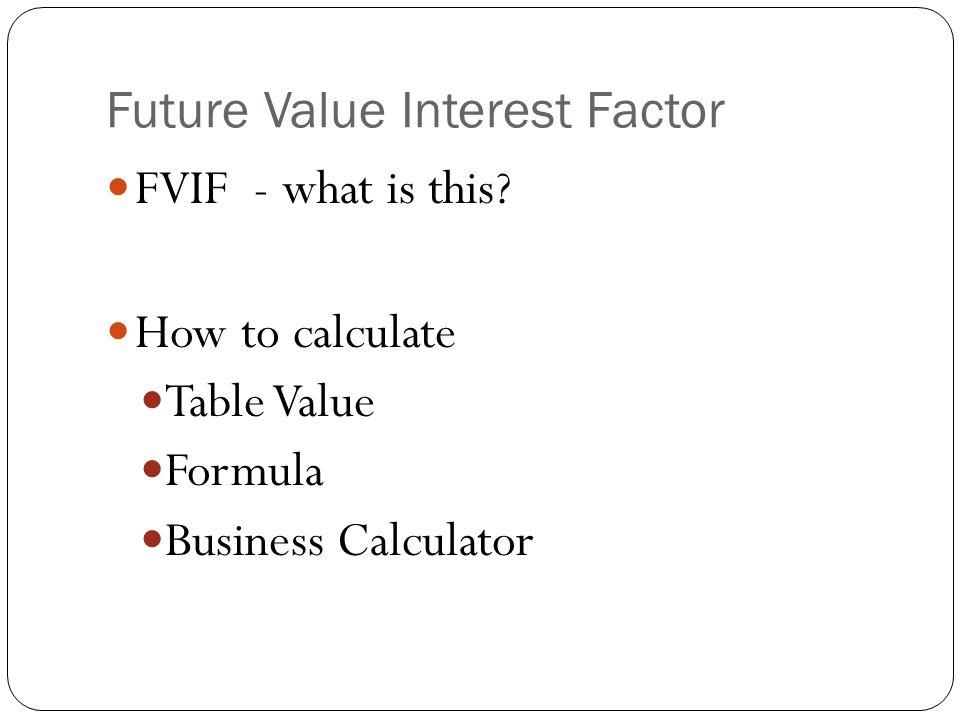Future Value Interest Factor