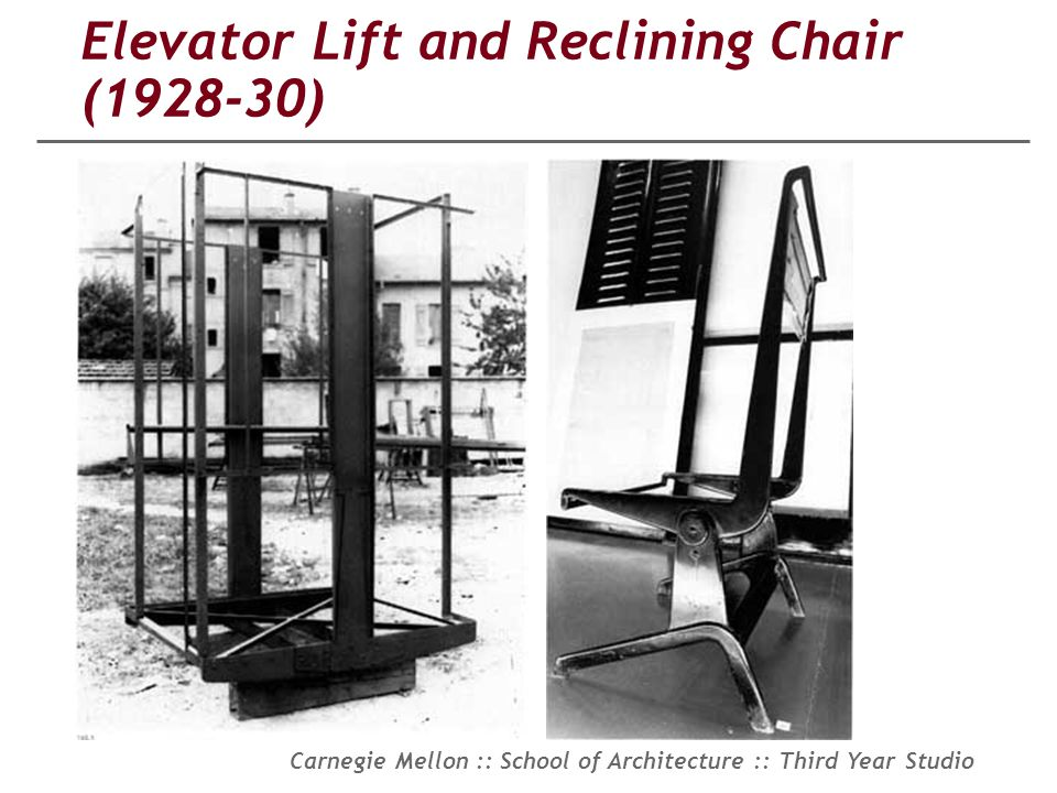 Elevator Lift and Reclining Chair (1928-30)