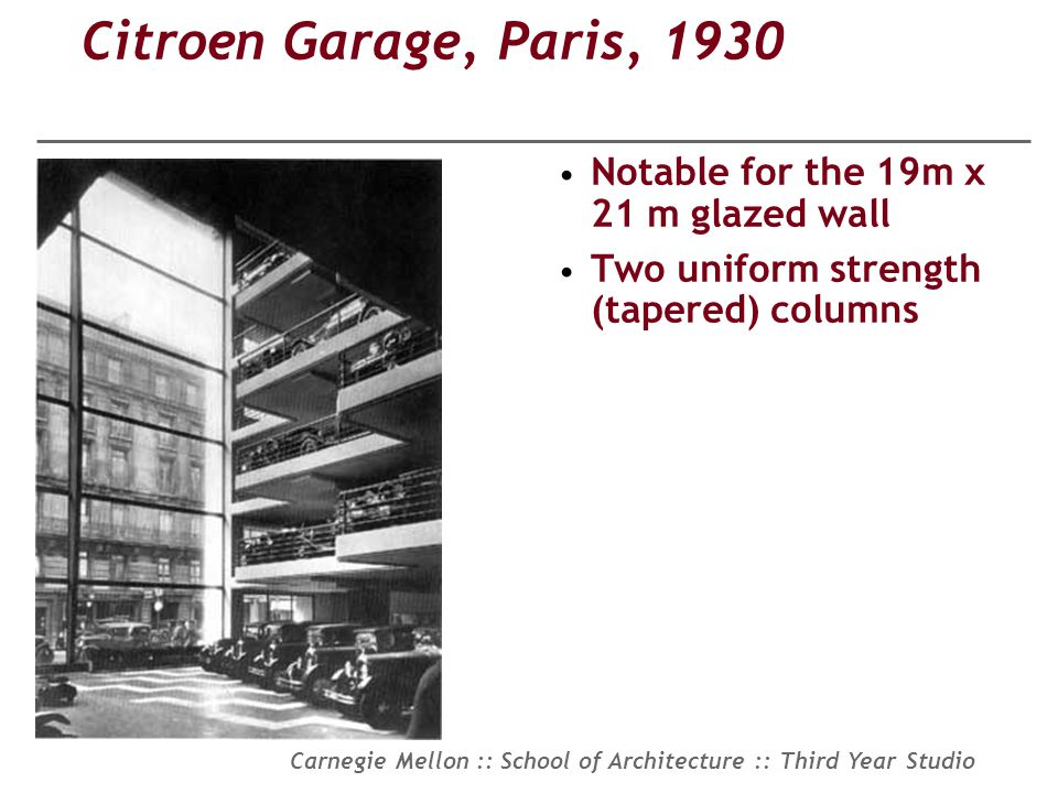 Citroen Garage, Paris, 1930 Notable for the 19m x 21 m glazed wall