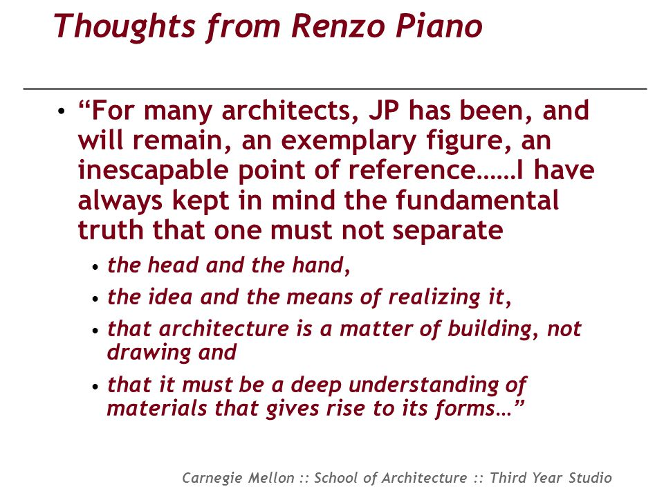Thoughts from Renzo Piano