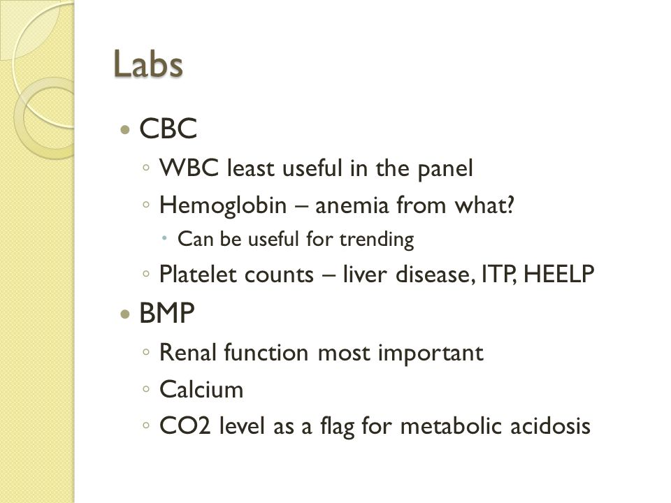Labs CBC BMP WBC least useful in the panel