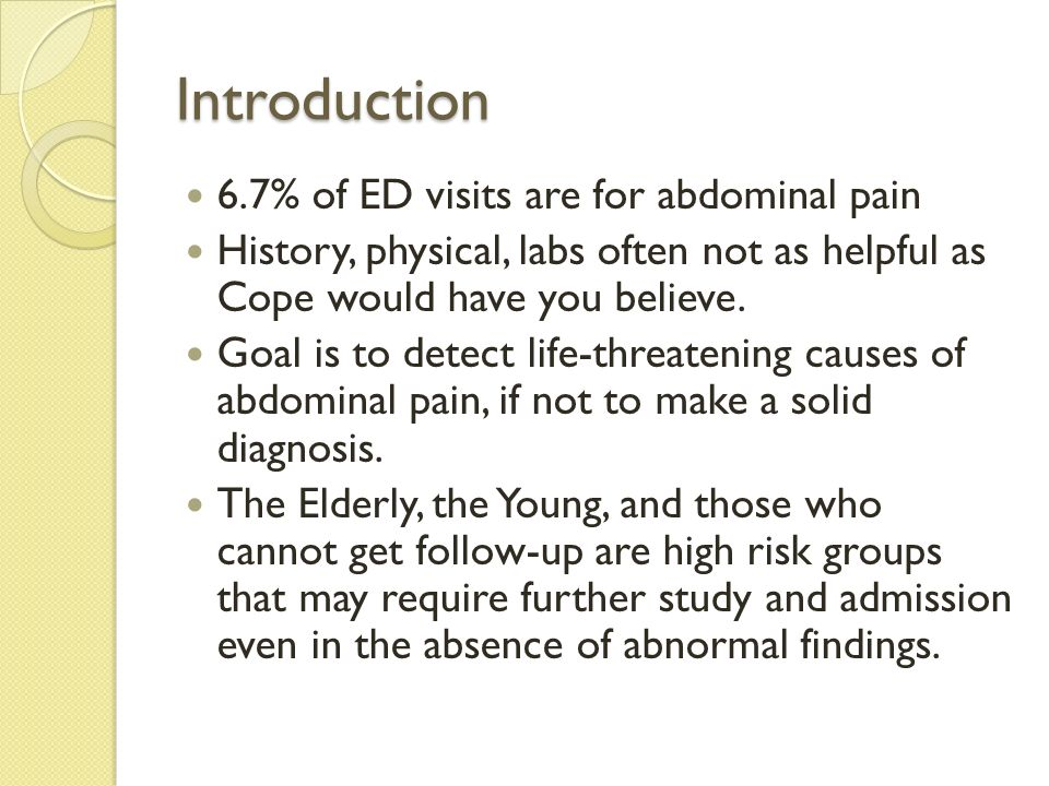 Introduction 6.7% of ED visits are for abdominal pain